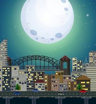 Une scène de ville de pleine lune géante
