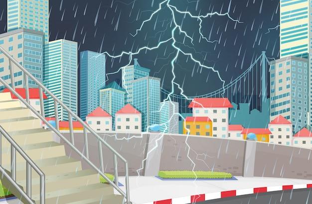 Scène de ville de tempête