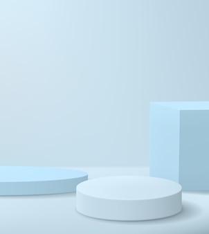 Scène de vitrine de produit minimaliste avec fond bleu. cylindres vides et cube pour démonstration du produit.