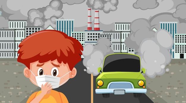 Scène avec des voitures et des bâtiments d'usine faisant de la fumée sale dans la ville