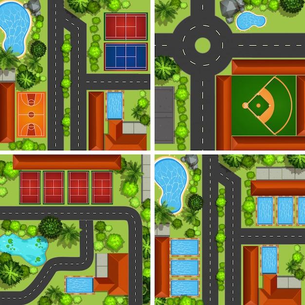 Scènes aériennes avec routes et terrains de sport