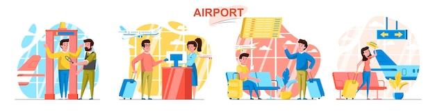 Scènes d & # 39; aéroport dans un style plat