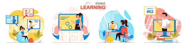 Scènes d'apprentissage à distance dans un style plat