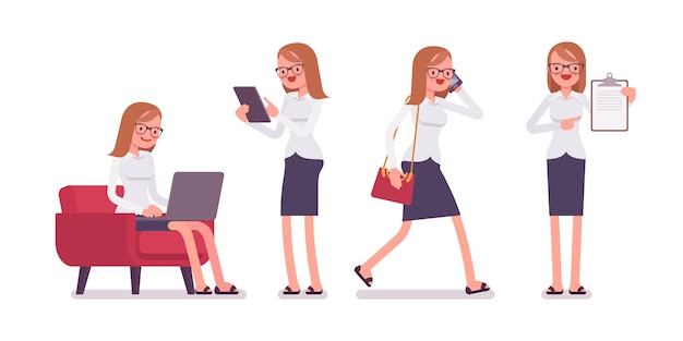 Scènes de bureau avec jeune employé féminin occupé et détendu