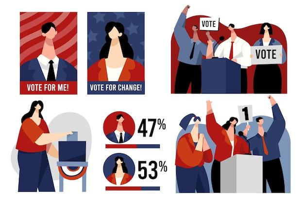 Scènes de campagne électorale design plat illustration usa
