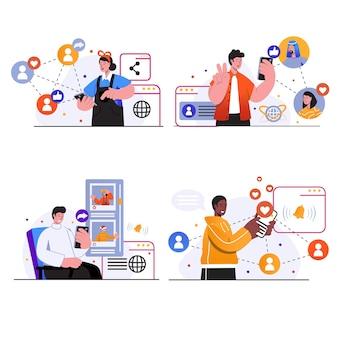 Les scènes de concept de réseau social définissent les gens discutent en ligne avec des amis créent et partagent des commentaires sur les publications