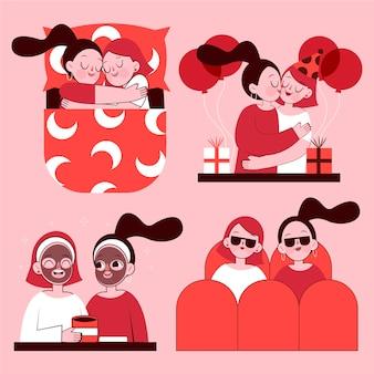 Scènes de couple lesbien design plat organique