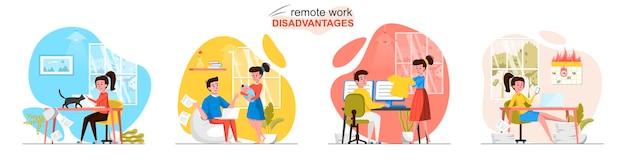 Scènes de désavantages du travail à distance dans un style plat