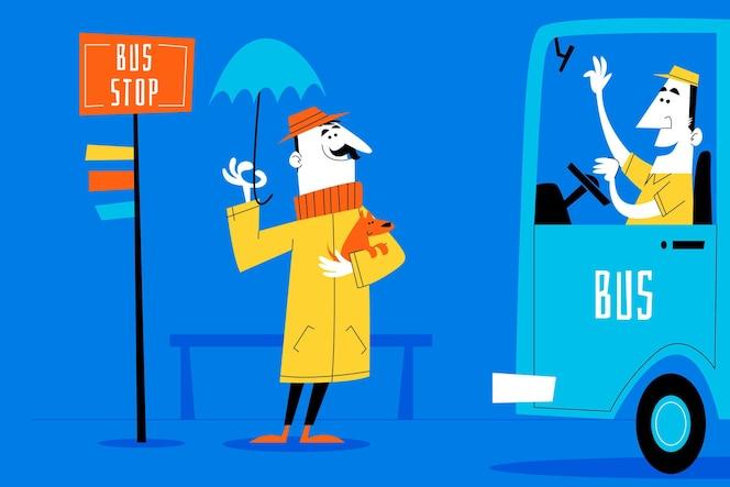 scènes de dessin animé rétro dessinés à la main 2