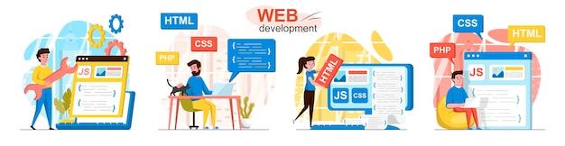 Scènes de développement web définies dans un style plat