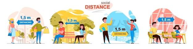Scènes de distance sociale dans un style plat