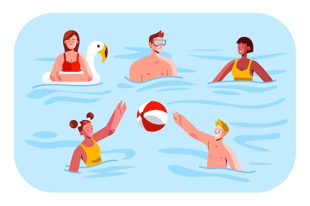Scènes d'été avec collection de personnes