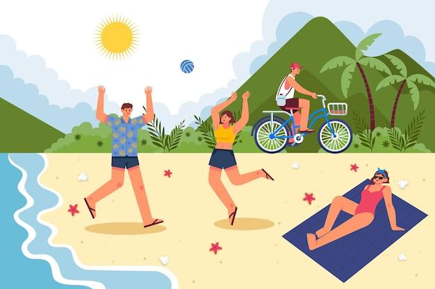 Scènes d'été à plat à la plage