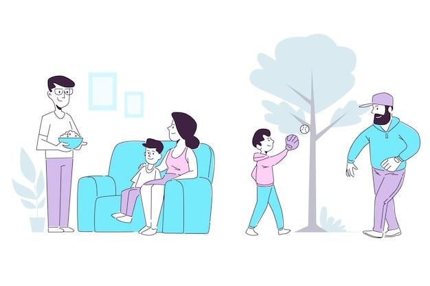 Scènes de famille dessinées à la main