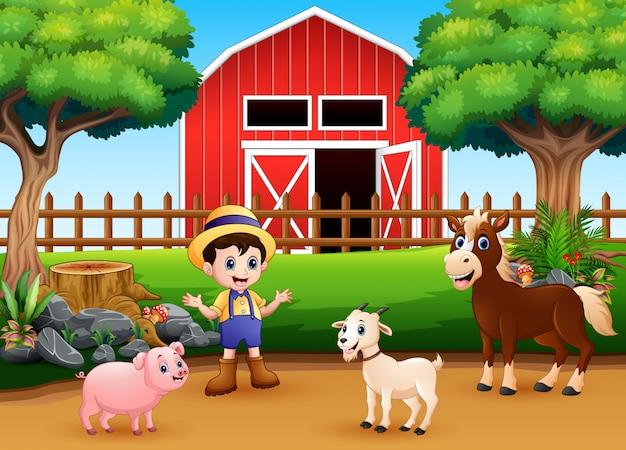Scènes de ferme avec différents animaux et agriculteurs dans la cour de ferme