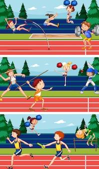 Scènes de fond avec des athlètes faisant de l'athlétisme