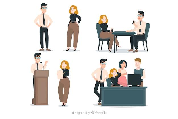 Scènes de gens plats au bureau