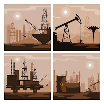 Scènes de groupe de l'industrie pétrolière