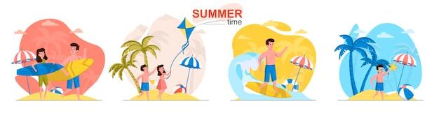 Scènes de l'heure d'été dans un style plat