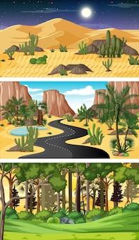 Scènes Horizontales De Nature Différente Vecteur gratuit