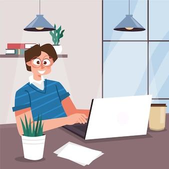 Scènes de jour de travail de dessin animé avec ordinateur portable