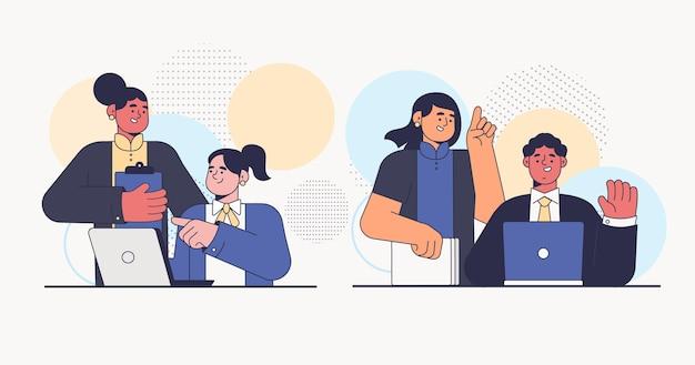 Scènes de jour de travail illustration plate