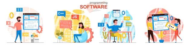 Scènes de logiciel de programmation définies dans un style plat