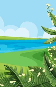 Scènes de nature vides avec rivière et ciel vierge