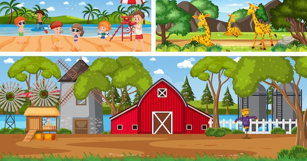 Scènes de paysage panoramique en plein air avec personnage de dessin animé
