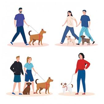 Scènes de personnes marchant avec des chiens