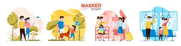 Scènes de personnes masquées dans un style plat