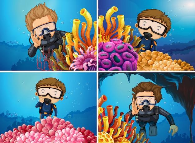 Scènes avec des plongeurs à la mer