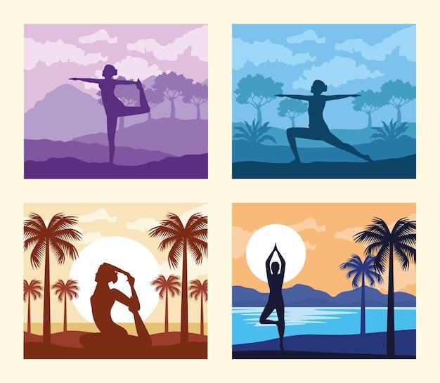 Scènes de postures de yoga