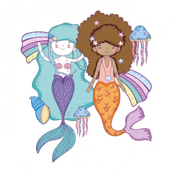 Scènes sous-marines de contes de fées mignonnes sirènes