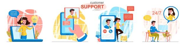 Scènes de support client définies dans un style plat