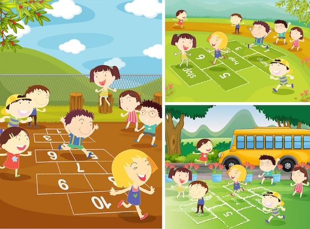 Scènes de terrain de jeu avec des enfants jouant à la marelle