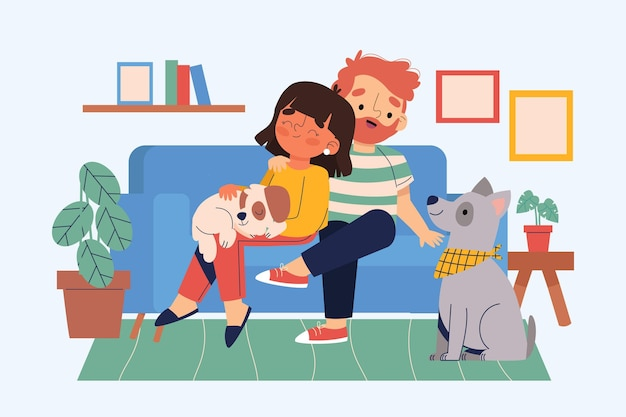 Scènes de tous les jours avec des animaux de compagnie