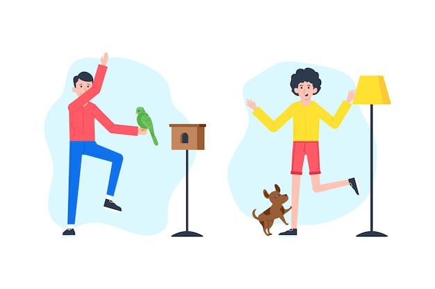 Scènes de tous les jours avec le concept d'animaux de compagnie avec chien perroquet