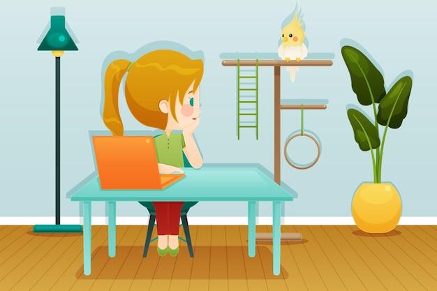 Scènes de tous les jours avec le concept d'animaux de compagnie avec perroquet et femme