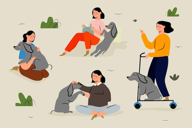 Scènes de tous les jours avec le concept d'animaux domestiques