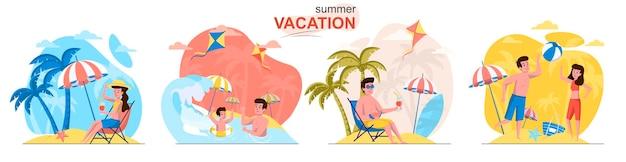 Scènes de vacances d'été dans un style plat