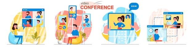 Scènes de vidéoconférence définies dans un style plat