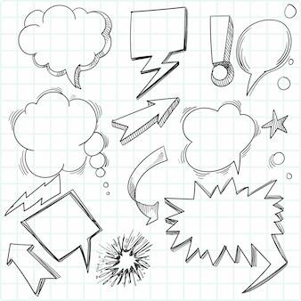 Scénographie de bulle de discours croquis dessinés à la main