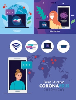 Scénographie, éducation en ligne pour arrêter la propagation du coronavirus covid-19, apprentissage de la conception en ligne concept illustration vectorielle