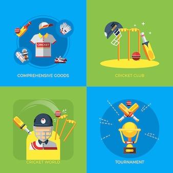 Scénographie des éléments de cricket