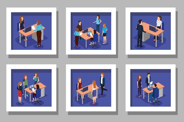 Scénographie avec des hommes d'affaires sur le lieu de travail