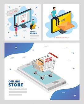 Scénographie illustration boutique en ligne vector illustration design