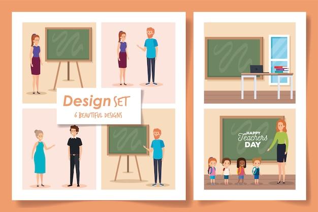 Scénographie de la journée des enseignants heureux en classe