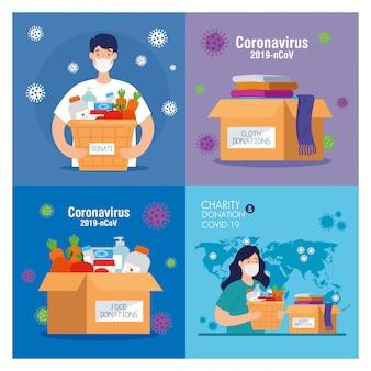 Scénographie, personnes avec des boîtes de dons, assistance sociale, bénévolat et concept de charité