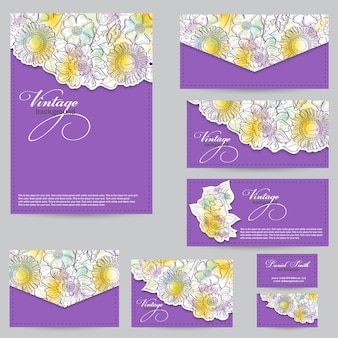 Scénographie pour cartes de visite, enveloppes, cartes postales. floral